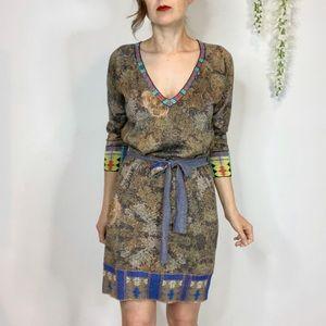 CUSTO BARCELONA belted tapestry dress v-neck 1632